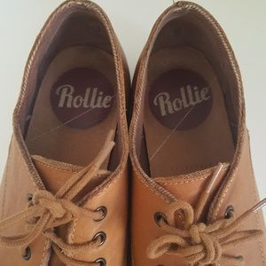 Rollie Shoes - Rollie Derbys Tan Leather Lace Up Oxford Loafer